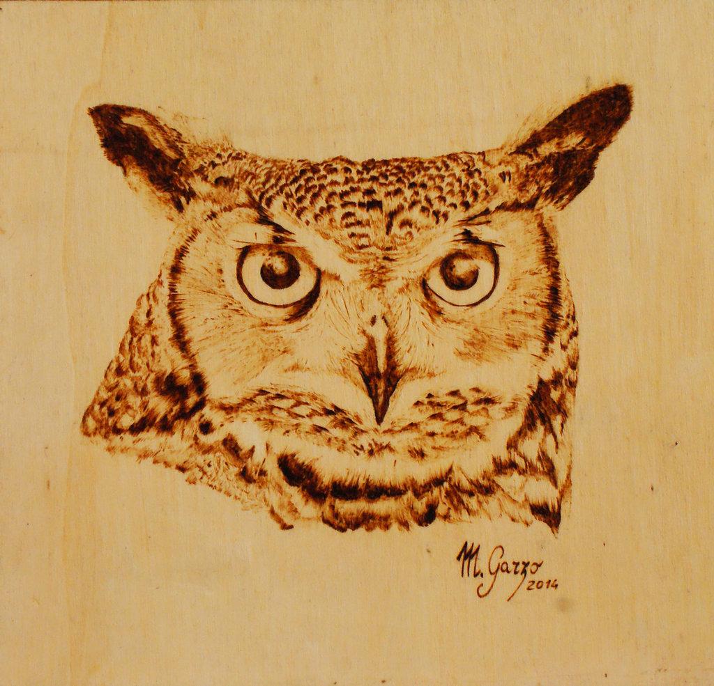 Gufo - quadretto pirografato su legno cm 22x21