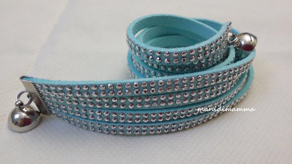 bracciale modello alcantara tuchese con borchie color argento