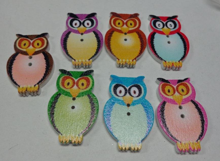 7 Bottoni in legno GUFO colore 7 colori