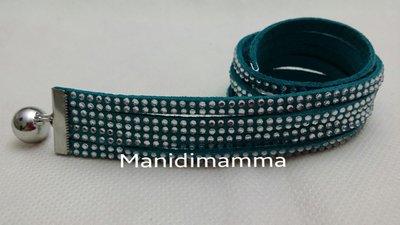 bracciale modello alcantara tonalità verde acquamarina con strass