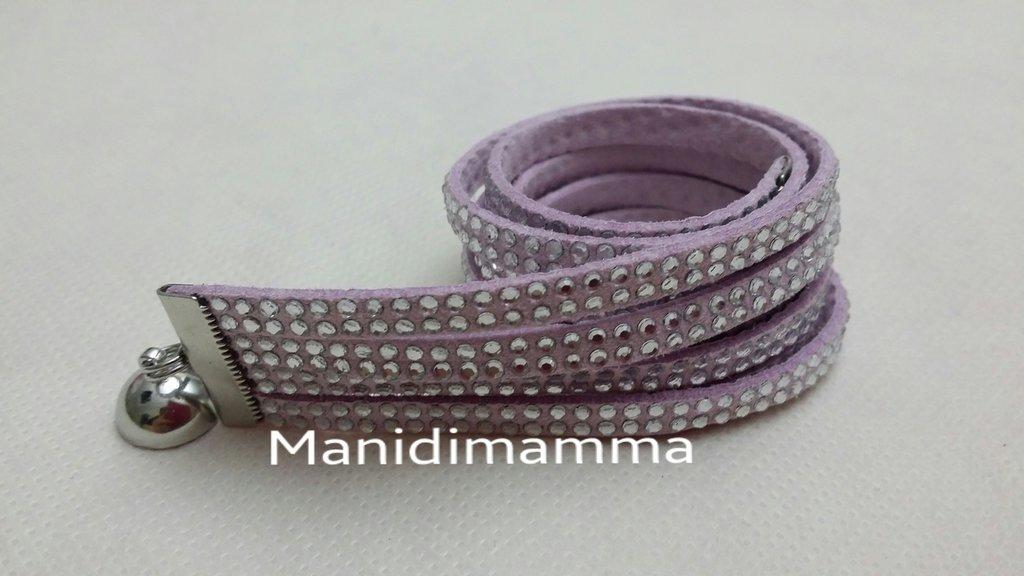 bracciale modello alcantara tonalità lilla con strass