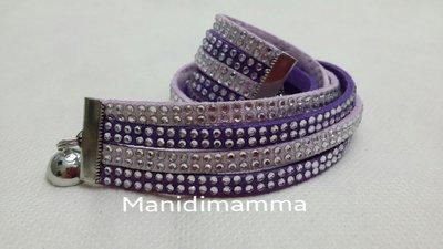 bracciale modello alcantara colore lilla e viola con strass