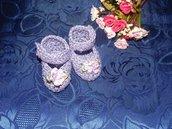 SCARPETTE SCARPINE bimbi FATTE A MANO cotone 100% lilla
