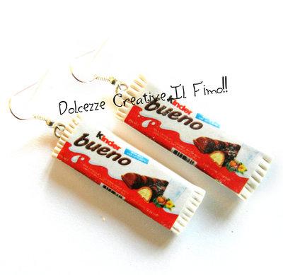 Orecchini Barrette di cioccolato con crema di nocciole - Snack, idea regalo, kawaii - Miniature