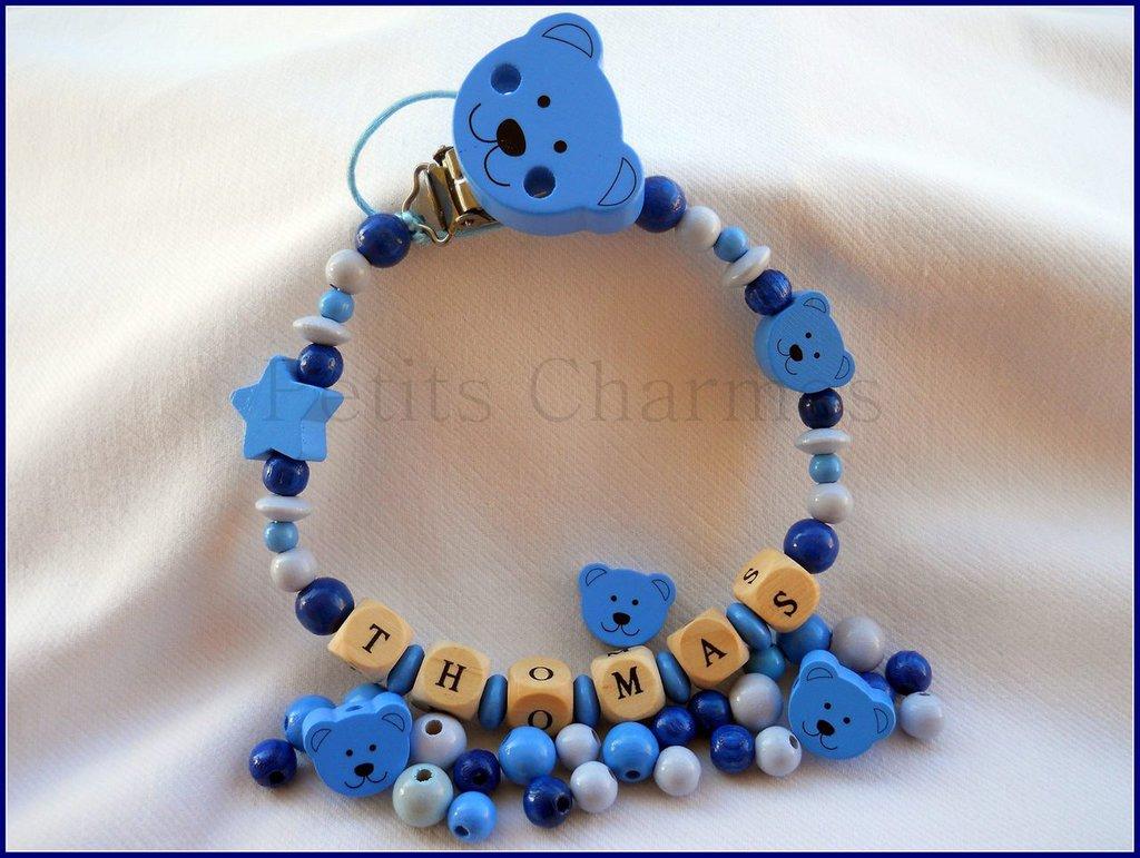 catenella porta-ciuccio con stellina realizzata a mano modello orsetto blu