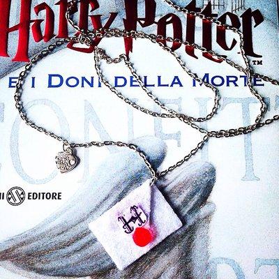 Collana Harry Potter saga con lettera per Hogwarts in feltro fatta a mano