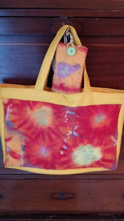 Borsa shopping bag in lana cardata e pannolenci +portacellulare