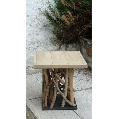 Tavolino RIULUKU in bois flottè e materiali di recupero fatto a mano