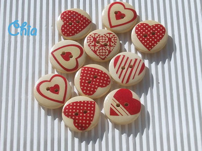 set 10 bottoni cuore in legno 20mm