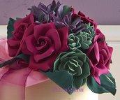 Bouquet rose e piante grasse