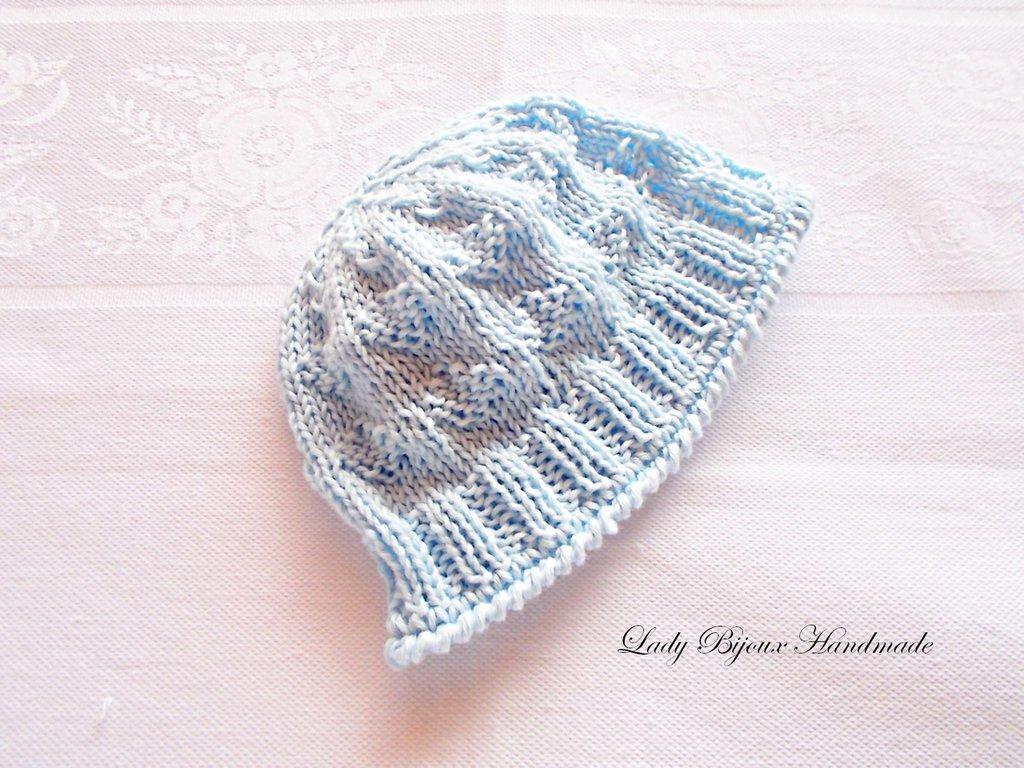 Super Baby berretto neonato in puro cotone lavorato a mano ai ferri con  HP56