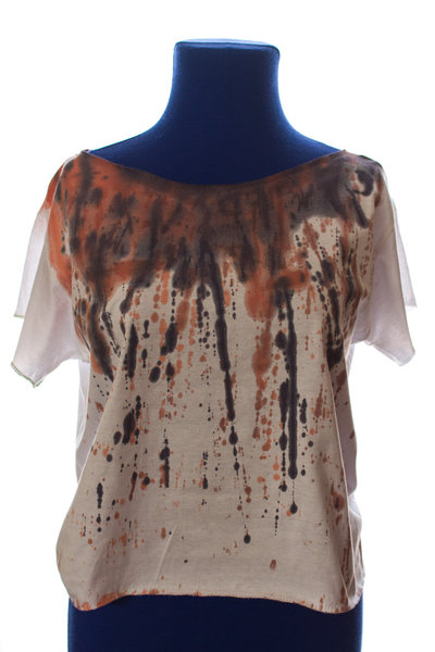 rainbow crash#2: t-shirt bianca con colature di colore