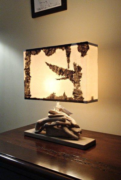 Lampada elisabetta con legni di mare per la casa e per - Lampade con legno ...