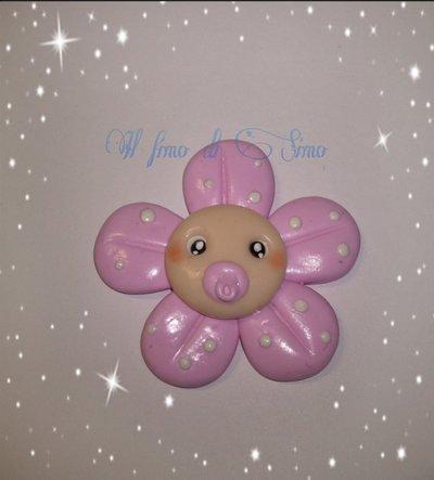 bomboniera fiore rosa bimba in fimo