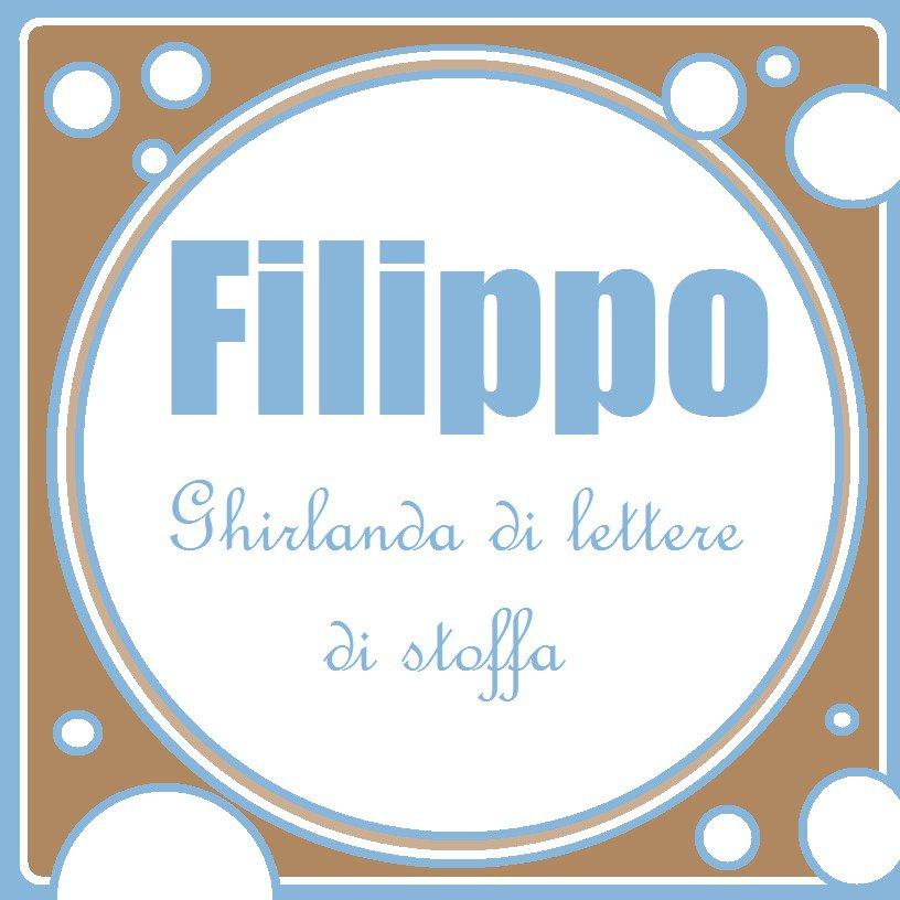 Filippo: una ghirlanda di lettere di stoffa imbottite sui toni del celeste e beige per decorare la sua cameretta!