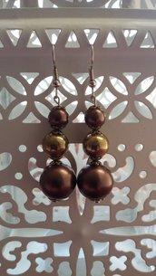 Orecchini pendenti bicolor marrone e bronzo