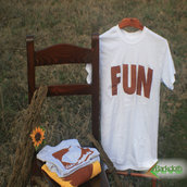 T-shirt 100% Organic FUN - Bianca unisex (Taglia M)
