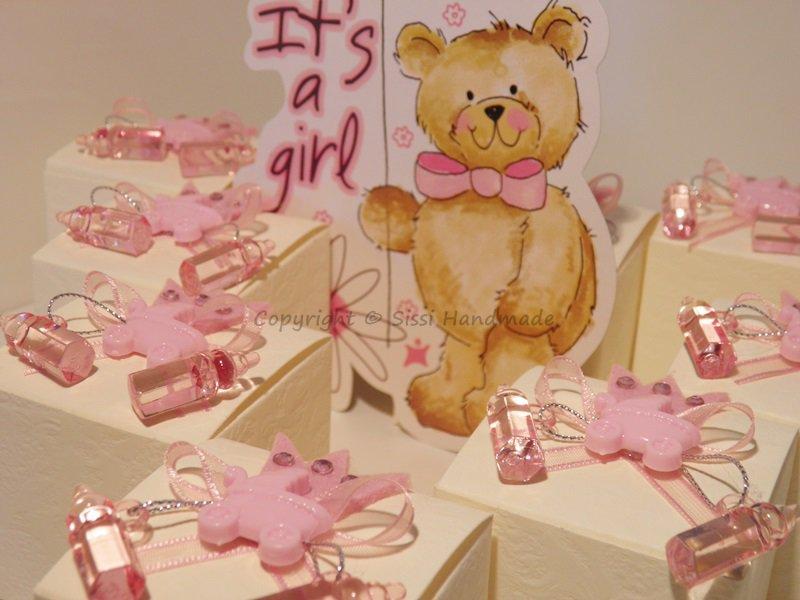 Portaconfetti (x10) scatole con carrozzina e biberon rosa per annunciare una nascita