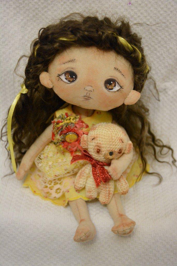 "Bambola di stoffa da collezione -"" ...insieme per sempre""... 28 cm Riservata per S."