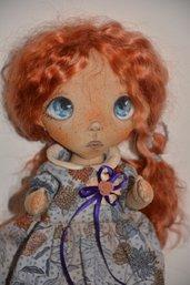 """Bambola di stoffa da collezione -"""" I sogni volanti""""... 28 cm"""