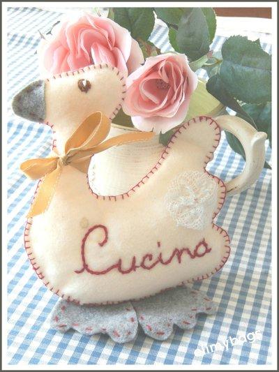 Papera di pannolenci stile country per la cucina handmade♡
