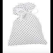 sacchettino per bomboniera in stoffa a pois bianco e nero (disponibile anche in altri colori su richiesta) mis. cm. 10