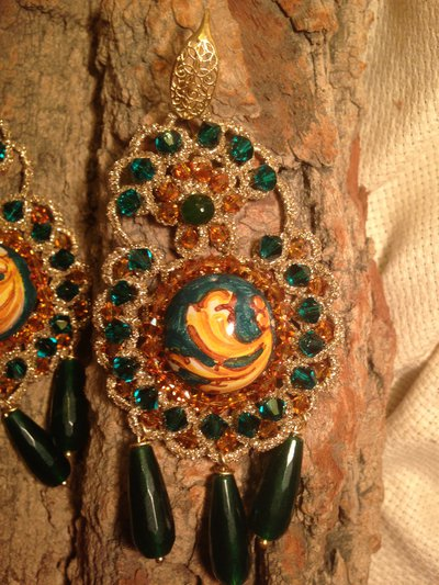 orecchini cabochon in ceramica ornato verde petrolio