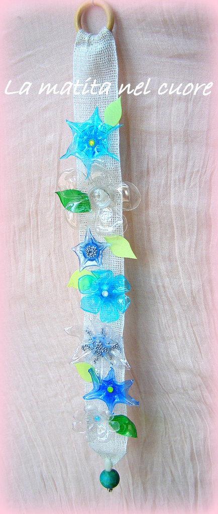 Striscia decorativa da parete con fiori e foglie in plastica pet trasparente celeste blu