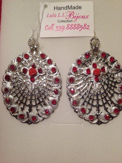 orecchini in filigrana di ottone color argento