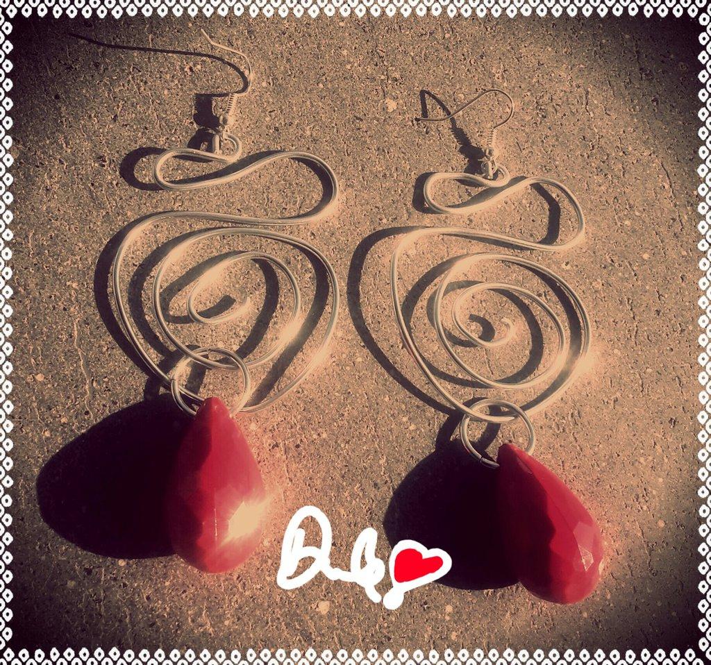 orecchini irregolari filo alluminio