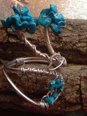 bracciale in wire e pasta di turchese