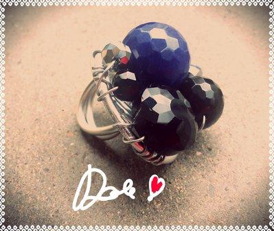 anello con agata blu  onice cristallo nero