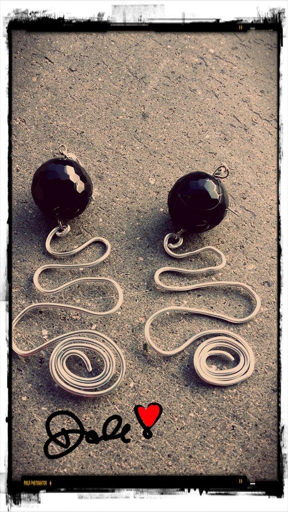 orecchini filo alluminio con pietra d'onice