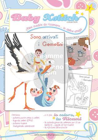 SCHEDA PUNTO CROCE PER COPERTINE CULLA E LETTINO - BABY XSTITCH COLLECTION N. 7