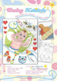 SCHEDA PUNTO CROCE PER COPERTINE CULLA E LETTINO - BABY XSTITCH COLLECTION N. 14