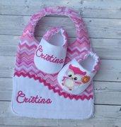 Bavaglia e scarpine Civetta personalizzati con nome - Bambina 3-6 mesi