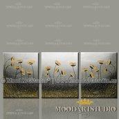 Composizione di 3 dipinti di fiori moderni dorati in rilievo dipinto a mano