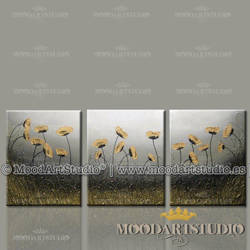 Composizione di 3 dipinti di fiori moderni dorati in rilievo dipint ...