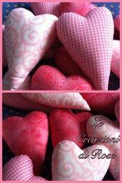 Cuori imbottiti rosa bomboniera battesimo comunione nascita