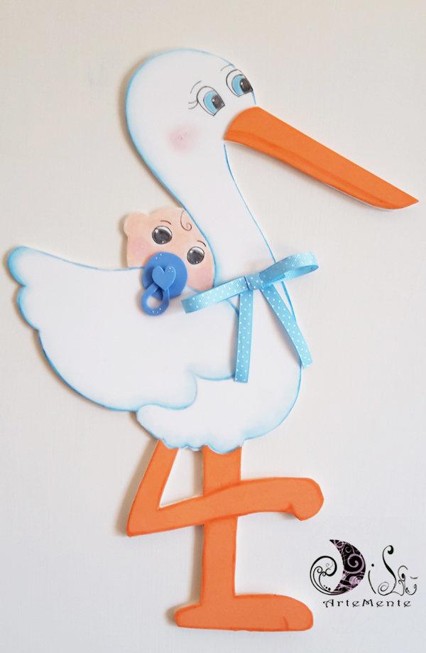 Fiocco nascita Cicogna con bebè azzurro - fiocco nascita per bimbo