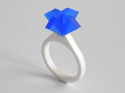 Ollo, anello solitario per sognare_versione color zaffiro