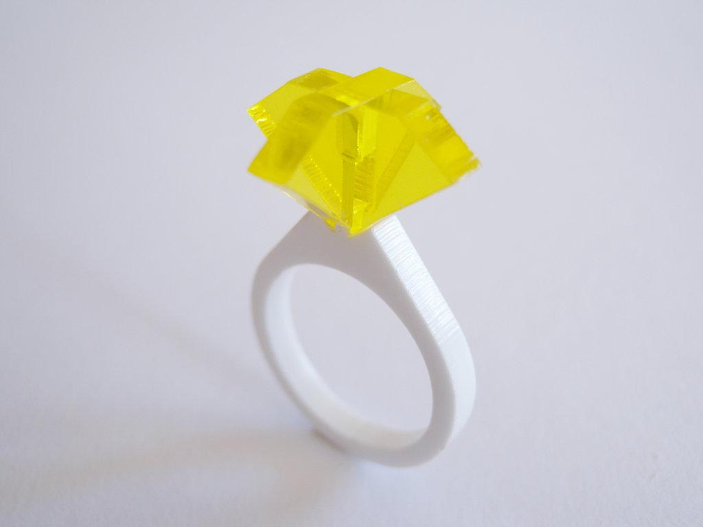 Ollo, anello solitario per sognare_versione color ambra