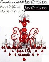 114 Lampadario 6  luci in vetro di murano rosso e trasparente con cristalli swarovski