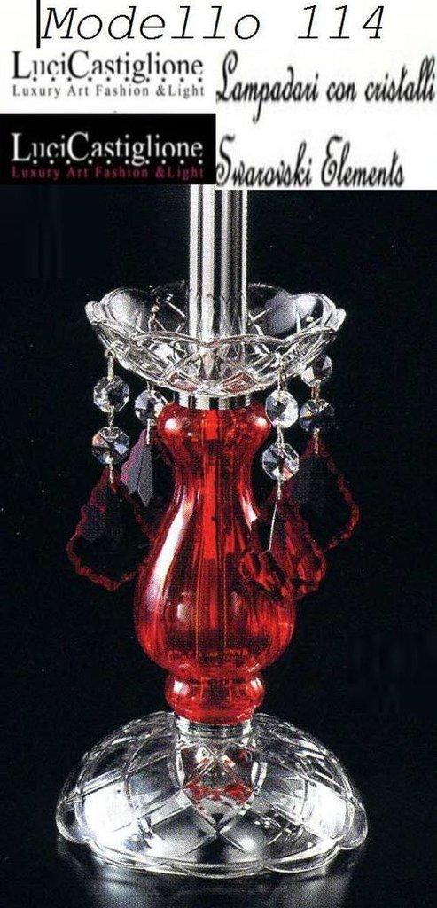 114 Lume 1 luce in vetro di murano rosso e trasparente con cristalli swarovski