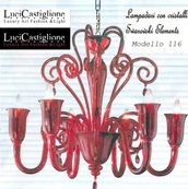 116 Lampadario 6 luci in vetro di murano rosso e cristalli swarovski