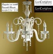 118 Lampadario 6 luci in vetro di murano bianco latte e cristalli swarovski