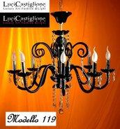 119 Lampadario in vetro di murano nero e cristalli swarovski