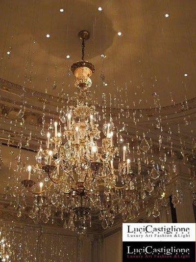 120 Lampadario 27 luci in vetro di murano trasparente e cristalli swarovski effetto stelle cadenti