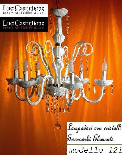121 Lampadario 6 luci in vetro di murano bianco latte e cristalli swarovski