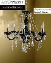 122 Lampadario 6 luci in vetro di murano nero e cristalli swarovski